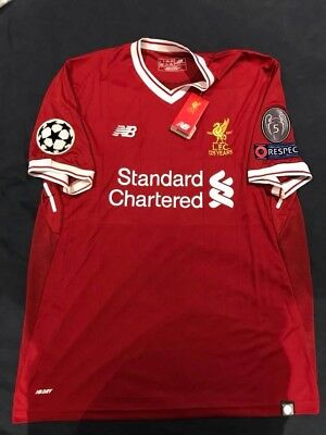 OFFICIAL Liverpool FC 2017-18 Home Jersey large NEW with UCL Patches