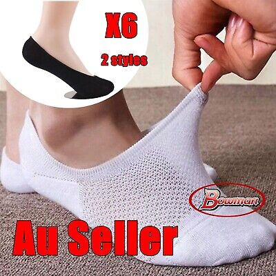 6 Pairs Men Women Lady Invisible Bamboo Cotton Low Cut Boat Ankle No Slip Socks