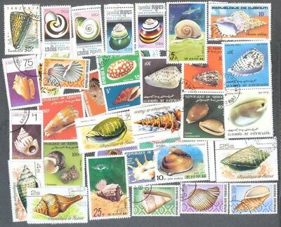 Seashells-100 all different collection stamps