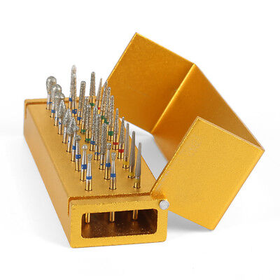 30Pcs Dental Diamond High Speed Burs Drills + Gold Aluminum Holder Bur Block QR4