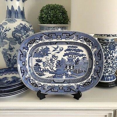 Blue White Willow Platter Charger Vintage 37.5cm Cabinet Plate Unsigned