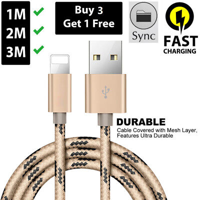 4 X USB Data Charging Cable Charger cord for Apple iPhone X 8 7 6 5 iPad 4 SIZES