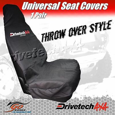 Drivetech 4X4 Logo Universal Pair Bucket Mechanic Throw Over Seat Covers Set L&r