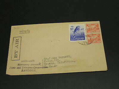Burma 1950s? airmail cover to USA *13112
