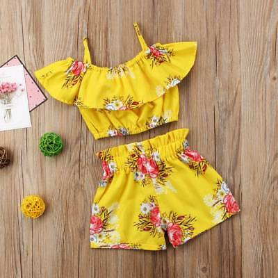 Kids Girl Two Piece Off Shoulder Cotton Playsuit Floral Summer Ruffled Jumpsuit