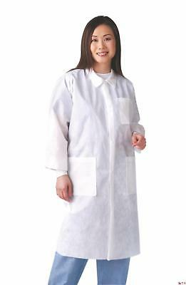 Disposable Knit Cuff / Traditional Collar Multi-Layer Lab Coats,White,Small -...
