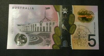 (Unc) 2016 $5 AA First Prefix - Perfect Condition Banknotes - Fast Post #02