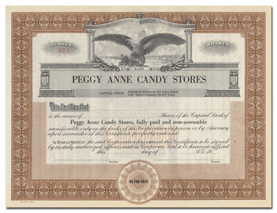 Peggy Anne Candy Stores Stock Certificate (Maine)