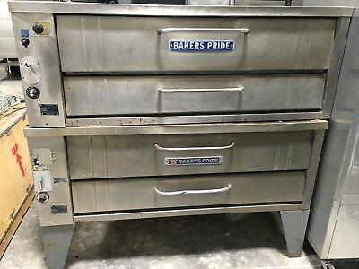 """Bakers Pride Double Stack 451 Natural Gas 54"""" Deck Pizza Oven w/ Stones"""