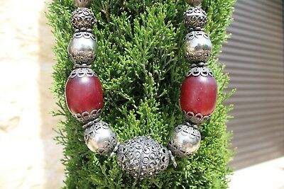 Vintage Antique Old Yemenite Bedouin Tribal Ethnic Red amber Silver Necklace