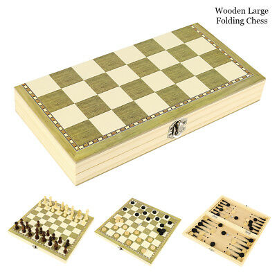 3 in 1 Wooden Chess Board Games House Set Toy Backgammon Large Chess Wooden Set