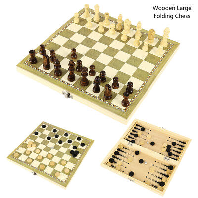 3 in 1Large Chess Wooden Set Folding Chessboard Magnetic Pieces Wood Board Set