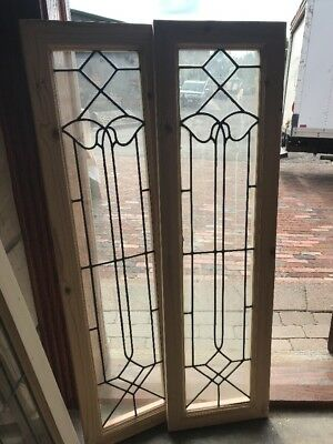 Sg 2310 Match Pair Antique Leaded Glass Sidelights 13.25 X 47.25