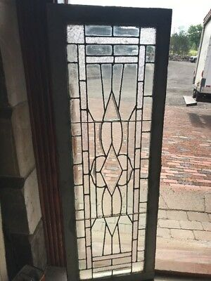 SG 2317 antique Stainglass textured beveled transom window 18.25 x 52.5