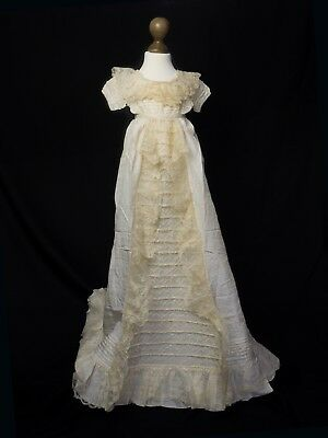 Early 19th Century silk and lace Christening gown best on ebay