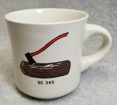 Vintage Boy Scout BSA Stoneware Coffee Cup Mug SC 345 Log & Axe