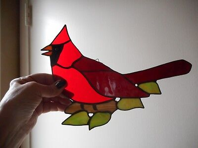 Large Vtg Artist Hand Made Leaded Stained Glass Cardinal Suncatcher 10""