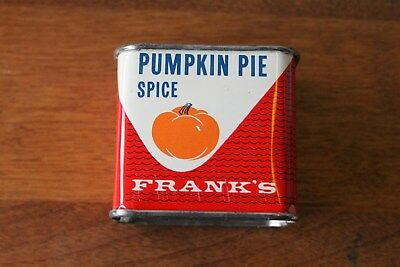 Vintage FRANK'S METAL SPICE TIN DOVE BRAND ~ PUMPKIN on Front PIE RECIPE on Back