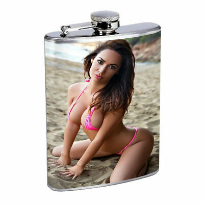 Moroccan Pin Up Girls D18 Flask 8oz Stainless Steel Hip Drinking Whiskey