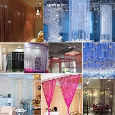 Shiny Tassel Silver Line String Curtain Window Door Divider Sheer Curtain Decor