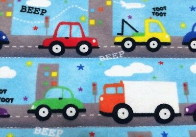 "LAST! HANDMADE,""VEHICLES""35X42in, BOYS,BABY/TODDLER FLANNEL QUILTED BLANKET-GIFT"