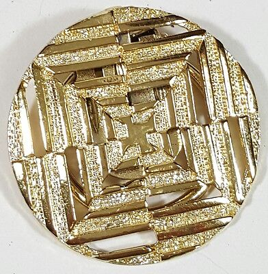 Jewelry Scarf Brooch Gold Tone Metal Unique Classy Design Christmas Gift #3741