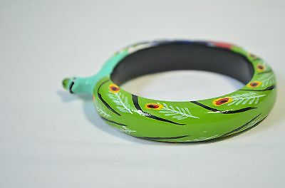 Vintage Artisan Hand Painted Rainbow Color Peacock Wood Wooden Bangle Bracelet