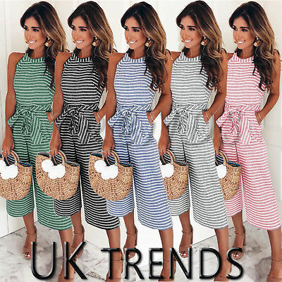 UK Womens Summer Striped Wide Leg Holiday Jumpsuits Playsuits Culotte 6-16