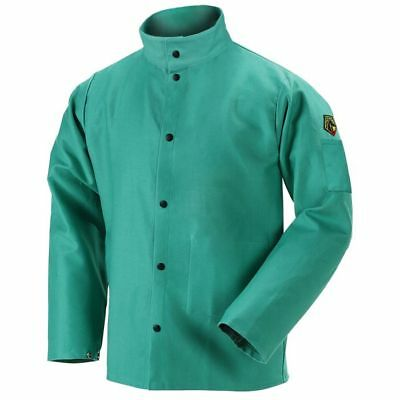 Flame-Resistant Cotton Welding Jacket - Green-Small