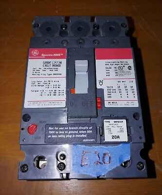 GE Spectra RMS SELA36AT0030 30A 600V Current Limiting Circuit Breaker w/20A Plug