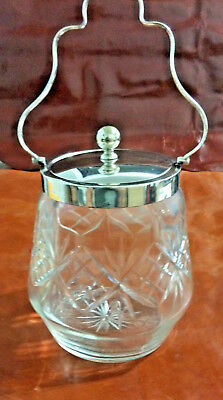 Antique Cut-Glass Biscuit Jar With Nickel Silver Lid