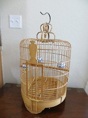 Old Vintage Chinese/Asian Large size Bamboo Carved Bird Cage w/feeders