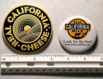 2 Advertising Pinback Buttons Real California Milk, Cheese