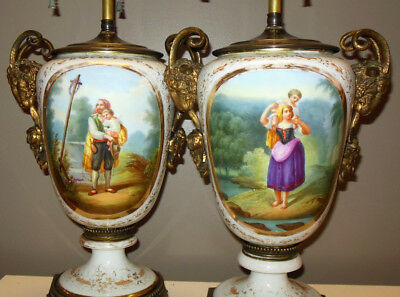 Superb Antique  Pr Hand Painted French Porcelain Lamps Bronze Rams Heads Ormolu