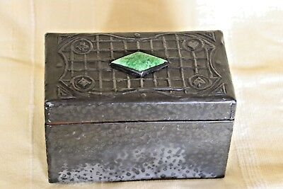 Arts and Crafts Pewter Covered Wooden Playing Card Box With Ruskin Cabochon