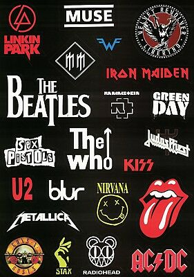 Rock Metal Punk Suitcase Guitar Stickers A4 Linkin Park U2 The Who Green Day