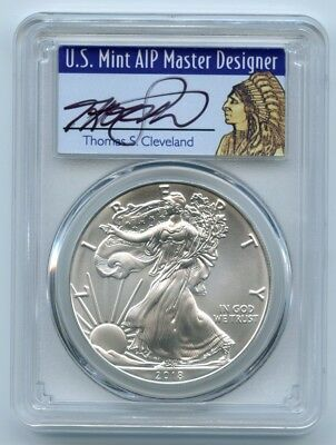 2018 American Silver Eagle PCGS MS70 First Strike Thomas Cleveland Signed Native