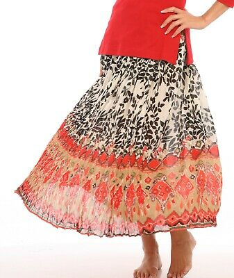 Plus Le Mieux Red Hawaiian Hibiscus Floral Cotton Skirt Ankle Length Missy