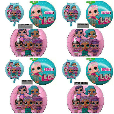 "3/6/9/12PCS 18"" LOL Surprise Doll Foil Balloons Party Birthday SURPRISED GIRL"