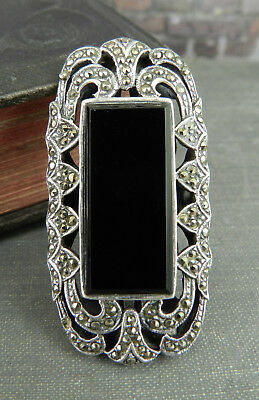 Large Vintage Style Rectangular Onyx & Marcasite 925 Sterling Silver Ring