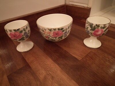 Crown Staffordshire Pattern F7117 Thousand Flowers - Small Bowl & Egg Cups Qty 2