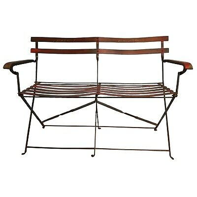 Red Folding 2-Seat Bench / Wrought Iron / French Garden Style