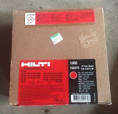 Hilti #50373 | Red Shots | .27 Cal. Short 6.8/11M | Box of 1000 | NEW