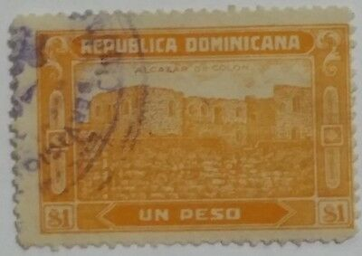 Dominican Republic  Un Peso Used Stamp.....worldwide Stamps