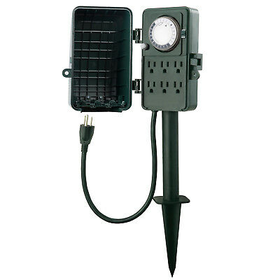 Century 24 Hour Outdoor Mechanical Timer 6 Outlets Garden Power Stake Waterproof