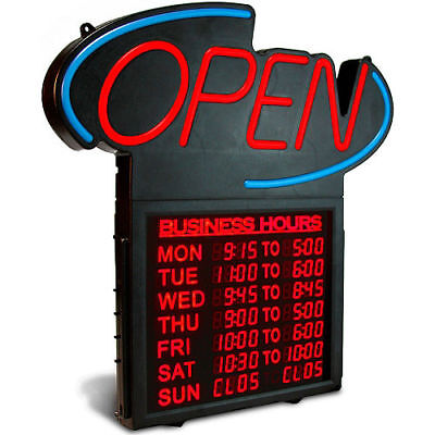 U. S. STAMP & SIGN LED Open Sign w/Digital Business Hours, 20 1/2 x 1 1/4 x 23 1