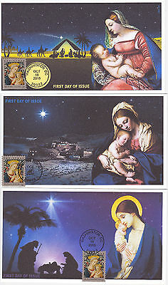 Jvc Cachets - 2016 Florentine Madonna & Child First Day Cover Fdc Set Of 3 Relig