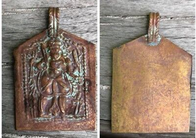 Ancient Pendant Roman Empire Kushan Buddha Warrior God Sword Necklace Old Patina