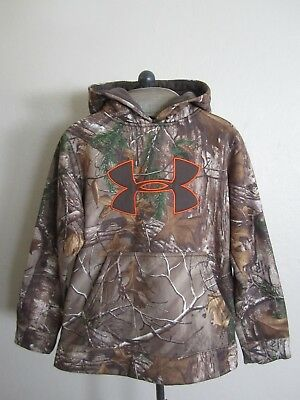 Under Armour Boys Real Tree Camo Pullover Hoodie Jacket Youth M