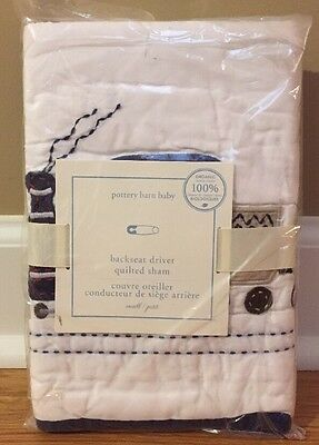 NEW Pottery Barn Kids Baby Backseat Driver Quilted Crib Nursery Pillow Sham